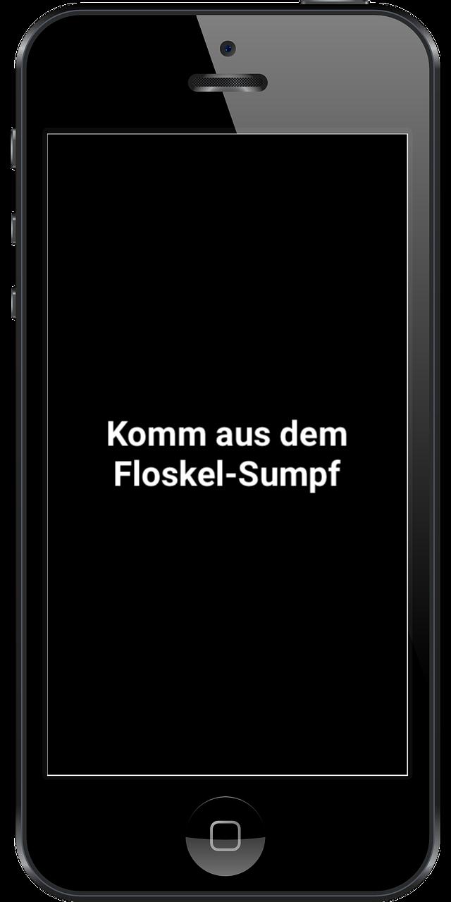 Smartphone mit Schrift in Display